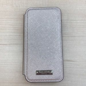 Kate spade New York iPhone 7 card holder case gold